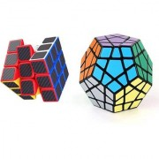 Emob Pack of 2 Stickerless Megaminx Cube and Carbon Fiber Stickers 3x3 Neon Colors High Speed Magic Rubik Cube Puzzle To