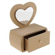 ELECTROPRIME® Mini Heart Design Unfinished Wood Jewelry Boxes Storage Box w/Drawer Mirror