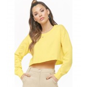 Forever21 Long Sleeve Crop Top YELLOW