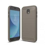 For Samsung Galaxy J730 / J7 Pro (EU Version) Brushed Texture Carbon Fiber Shockproof TPU Rugged Armor Protective Case(Grey)