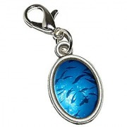 Graphics and More Scuba Dive Diving Ocean Fish Antiqued Bracelet Pendant Zipper Pull Oval Charm with Lobster Clasp