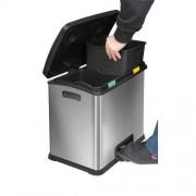 Beltéri, szelektív rozsdamentes fém hulladéktároló, lábpedálos kivitel, 2 x 12 l 7154