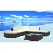 Set mobilier de grădină din poliratan 15 piese Maro
