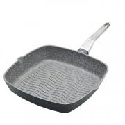 Tigaie grill, Kitchen Craft, 28 cm, MCMGP28, aluminiu, Gri