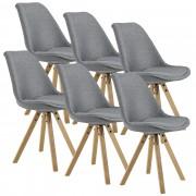 [en.casa]® Set de 6 Sillas de diseño - 85 x 48,5 - Silla de comedor - Cocina - Patas de madera - Asiento de tela acolchada - Gris