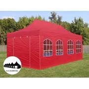 3x6m összecsukható pavilon ablakos piros Professional