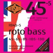 Rotosound Juego de 5 cuerdas para Bajo RB455 45-130 Roto Bass, Nickel on Steel