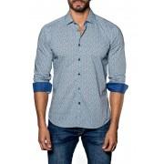 Jared Lang Contrast Print Trim Fit Shirt BLUE PRINT
