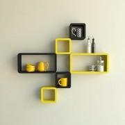 BM Wood furniture Set Of 6 Designer Wall Rack Shelves (black-yellow)