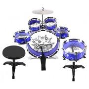 Velocity Toys™ 11 Piece Children's Kid's Drum Set Musical Instrument Playset w/ 6 Drums, Cymbal, Chair, Drumsticks...