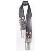 Zwarte crepe-voile sjaal met schelpen