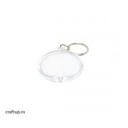 Breloc transparent rotund (blank) 4,7cm (10 buc)