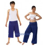 Siam Secrets Blue Thai Fisherman Pants Yoga Wrap Trousers 2 lenghts