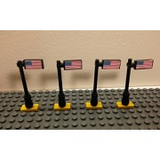 Lego American Flags with POLE on Tile 1x2 NEW CUSTOM PRINTED set of 4