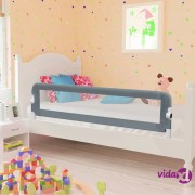 vidaXL Sigurnosna ogradica za dječji krevet siva 150 x 42 cm poliester