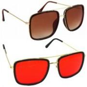 Phenomenal Retro Square Sunglasses(Brown, Red)