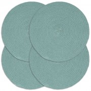 vidaXL 4 db sima zöld kerek pamutalátét 38 cm