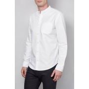 Next Long Sleeve Oxford Grandad Shirt - White - Mens