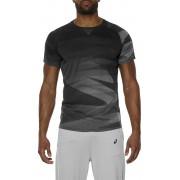 asics Print Hardloopshirt korte mouwen Heren grijs S 2016 Hardloopshirts