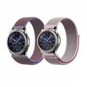 Set 2 curele din nylon cu adeziv si telescop QuickRelease 20mm pentru Samsung Active / Gear S3/ Huawei Watch 2, roz, lila