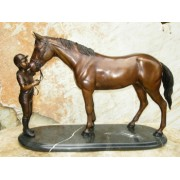 Statuie de bronz moderna Girl and horse on marble base 37x15x58 cm