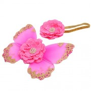 Generic Baby Photo Props Flower Headband Fairy Glitter Butterfly Wings Sets - rose red