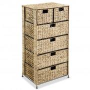 vidaXL Скрин с 6 чекмеджета-кошници, 47x37x100 см, воден хиацинт