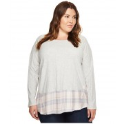 Vince Camuto Plus Size Long Sleeve Mixed Media Plaid Daydream Top Grey Heather