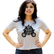 HEYUZE Small Town Girl Quote Grey Printed Women Cotton T-Shirts