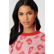 NA-KD Accessories Coloured Beads Tassel Earrings - Jewellery - Pink,Red