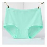 Female Middle-waisted Briefs Simple Solid Color Comfortable Cotton Panties Grass Green