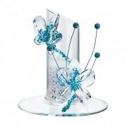 Figurina cristal Preciosa - Flowery Candle Holder (Turquoise)