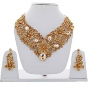 Lucky Jewellery Designer LCT Color Stone Rhine Stone Flower Shaped Gold Plated Necklace Set With Earring For Girls Women