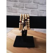 Bracelet Beige Perles Bois de Santal