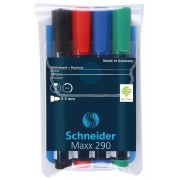 Marker SCHNEIDER Maxx 290, pentru tabla de scris flipchart, varf rotund 2-3mm, 4 cul/set
