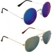 Zyaden Round, Aviator Sunglasses(Blue)