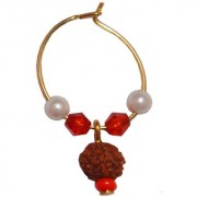 Men Style Hot Selling Pearl Rudraksha Bali Gold Alloy piercing Hoop Earring For Men And Boy
