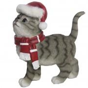Merkloos Kerst decoratie beeldje grijze kat/poes 22 cm