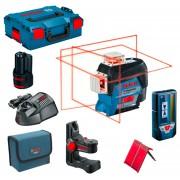 BOSCH GLL 3-80 C + BM 1 Nivela laser cu linii (30 m) + Suport + 1 acumulator 12V + L-BOXX + LR 7 Receptor