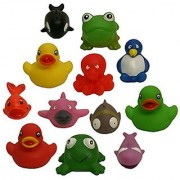 12 Rubber Duckies & Friends Water Squirting Bath Buddies Pack Waddlers Brand Baby & Kids Bath Tub Fun toys & learning M
