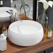 vidaXL Керамична мивка, кръгла, бяла, 40x16 см