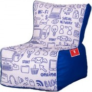 ComfyBean - Printed - Designer - Bean Chair - Size Kids - Filled With Beans Filler Web Blue