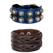 Casual Burnt Blue Black 100 Genuine Handcrafted Braided Dark Brown Leather Wrist Band Combo Pack Of 2 Bracelet Boys Men