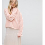 OneOn Hand Knitted Cable Sleeve Jumper - Light pink