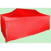 Nůžkový stan 3x6m ocelový, Červená, 4 boční plachty