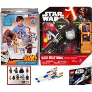 Star Wars Blueprints & Box Busters Battle of Hoth Mini Spaceship Set + Paper Figures Droids on Tatooine Desert Bundle R2-D2, C-3PO, Luke Skywalker, Storm Troopers toy Bundle