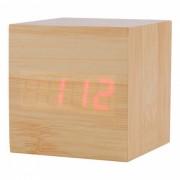 BSTUO Reloj cuadrado de madera LED con termometro - Marron claro