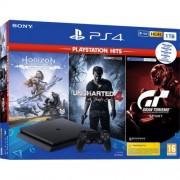 Конзола Sony Playstation 4 Slim 1TB Black + Horizon Zero Down Ps Hits PS4 + Uncharted 4 PS Hits PS4 + Gran Turismo PS Hits PS4