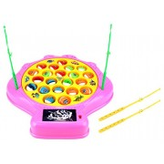 Deep Sea Shell Fishing Game For Children Battery Operated Rotating Novelty Toy Play Set W/ 21 Fishes, 4 Rods, Lights, Music (Pink) By Velocity Toys