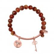 CO88 Armband met bedels bar/libelle/sleutel rosé/multi rood 8CB-50006